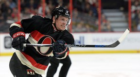 Ottawa Senators' Dion Phaneuf shoots against the Colorado Avalanche during second period NHL hockey action in Ottawa, Canada, Thursday, Feb. 11, 2016. (Sean Kilpatrick/The Canadian Press via AP)