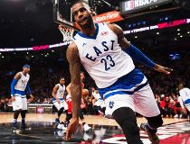 Eastern Conference's LeBron James, of the Cleveland Cavaliers (23) reacts after a slam dunk during first half NBA All-Star Game basketball action in Toronto on Sunday, February 14, 2016. THE CANADIAN PRESS/Mark Blinch