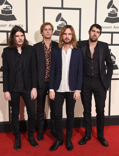 Dominic Simper, from left, Jay Watson, Kevin Parker, and Cam Avery of Tame Impala arrive at the 58th annual Grammy Awards at the Staples Center on Monday, Feb. 15, 2016, in Los Angeles. (Photo by Jordan Strauss/Invision/AP)