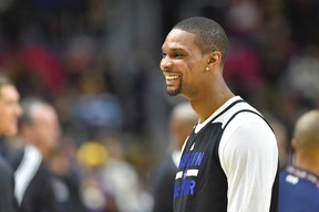 Heat forward Chris Bosh is dealing with another blood-clot scare and no decision has been made about his playing status heading into the rest of the NBA season. (Bob Donnan/USA TODAY Sports)