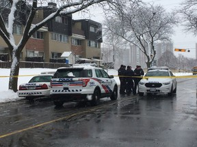Toronto Police are searching for a gunman after a man was shot in Flemingdon Park Tuesday afternoon. CHRIS DOUCETTE/TORONTO SUN