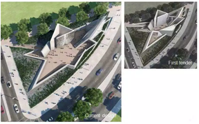 National Holocaust Monument: As appearing in the first tender, upper right, and current design. (NATIONAL CAPITAL COMMISSION)