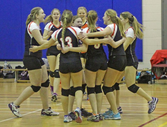 <p>Members of the Seaway Spartans  celebrate their SD&G senior girls A volleyball championship, at L'Heritage on Thursday, February 18, 2016 in Cornwall, Ont. Kevin Gould/Cornwall Standard-Freeholder/Postmedia Network