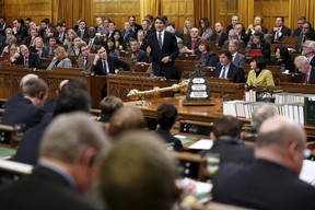 Canada's Prime Minister Justin Trudeau speaks during Question Period in the House of Commons on Parliament Hill in Ottawa, Canada, February 17, 2016. REUTERS/Chris Wattie