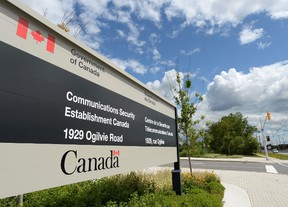 A sign for the Government of Canada's Communications Security Establishment (CSE) is seen outside their headquarters in the east end of Ottawa in this July 23, 2015 file photo. (THE CANADIAN PRESS/Sean Kilpatrick)