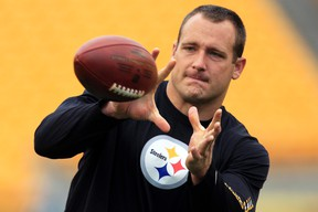In this file photo from Oct. 7, 2012,  Pittsburgh Steelers tight end Heath Miller (83) warms up before a game against the Philadelphia Eagles in Pittsburgh. (AP Photo/Gene J. Puskar, File)