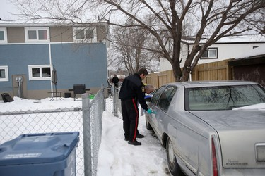 Police spent hours searching an address on Treger Bay, in Winnipeg, today.  The search is possibly connected to missing teen, Cooper Nemeth.      Friday, February 19, 2016.   Sun/Postmedia Network
