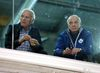 Maple Leafs Special Assignment Coach Jacques Lemaire (left) sits with Leafs GM Lou Lamoriello at practice in Toronto on Monday, Feb. 22, 2016. (Michael Peake/Toronto Sun)