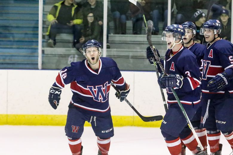The Icemen celebrate a second period goal by Mitchell Bowie, left, during game one of the Icemen�s quarter final series against the Beaumont Chiefs Feb. 19.