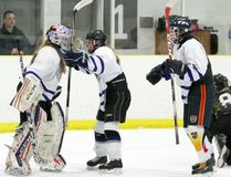 St. Mary's goalie Arren Osadzuk (left) is mobbed by her teammates after backstopping the Mustangs to a 1-0 win over the Kincardine District Knights on Wednesday in the Bluewater Athletic Association girls hockey final.