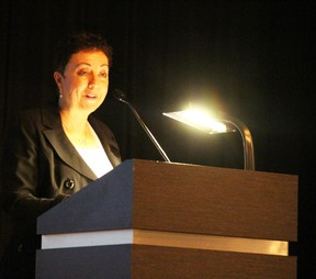 Shirley de Silva, the new president and CEO of the Sarnia-Lambton Chamber of Commerce, addresses membership at the chamber's annual general meeting Wednesday night. de Silva plans to usher in changes to the chamber over the next few months. (Barbara Simpson, The Observer)