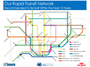A map of the rapid transit network for Toronto that city staff are recommending be built within the next 15 years.