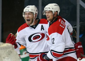 Jordan Staal (left) would miss playing alongside his brother Eric (right) if the Carolina Hurricanes captain was traded. (BRUCE BENNETT/Getty Images/AFP files)