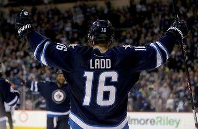 Winnipeg Jets' Andrew Ladd (16)celebrates after scoring a short handed goal against the Dallas Stars during second period NHL hockey action in Winnipeg, Tuesday, February 23, 2016. THE CANADIAN PRESS/Trevor Hagan