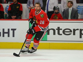 Chicago Blackhawks left wing Andrew Ladd (16) warms up prior to the first period against the Washington Capitals at the United Center on Saturday. (Dennis Wierzbicki-USA TODAY Sports)