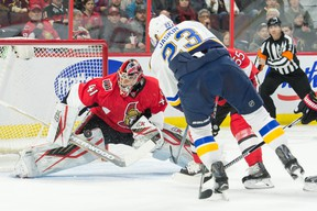 St. Louis Blues right wing Dmitrij Jaskin (23) shoots on Ottawa Senators goalie Craig Anderson (41) in the first period at the Canadian Tire Centre. Marc DesRosiers-USA TODAY Sports