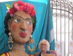 Columnist Merilyn Simonds in San Miguel, Mexico, with a giant female puppet celebrating International Women's Week. (Supplied photo)