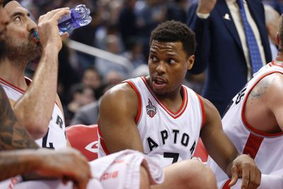 Toronto Raptors Kyle Lowry (7) discusses something with Luis Scola (4) in the first half time out in Toronto, Ont. on Wednesday March 2, 2016. Jack Boland/Toronto Sun/Postmedia Network