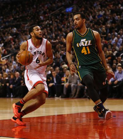 Toronto Raptors Cory Joseph (6) goes up against Utah Jazz Trey Lyles (41) in the second half. Raps def. Jazz 104-94 in Toronto, Ont. on Thursday March 3, 2016. Jack Boland/Toronto Sun/Postmedia Network