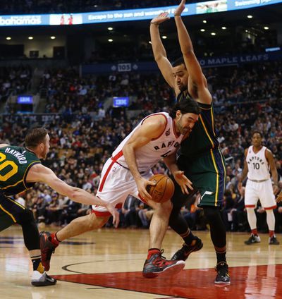 Toronto Raptors Luis Scola (4) goes into the paint in the second half. Raps def. Jazz 104-94 in Toronto, Ont. on Thursday March 3, 2016. Jack Boland/Toronto Sun/Postmedia Network