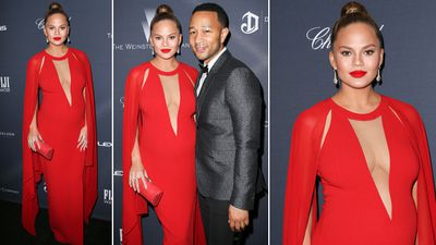 Teigen wearing Michael Kors at the Weinstein Company's Pre-Oscar Dinner 2016 at Montage Beverly Hills. FayesVision/WENN.com