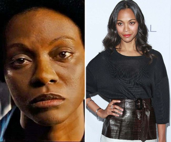 "Zoe Saldana as Nina Simone (left) and the real Zoe Saldana. (Handout/<A HREF=""http://www.wenn.com"" TARGET=""newwindow"">WENN.COM</a>)"