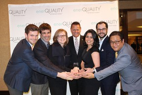 The Minto Group celebrates after receiving the award for Ontario Green Builder of the Year. From left to right: Carl Pawlowski, Wells Baker, Alison Minato, John Meinen (President OHBA), Roya Khaleeli, Kyle Rainbow, and Dominic Damar.