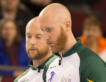Ryan Fry (L) and Brad Jacobs of Team Northern Ontario