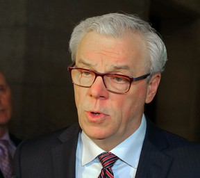 Manitoba Premier Greg Selinger speaks to the media after the Conservatives attempted to block the reading of the NDP's financial update in the Legislature in Winnipeg, Man. Tuesday March 08, 2016. Brian Donogh/Winnipeg Sun/Postmedia Network