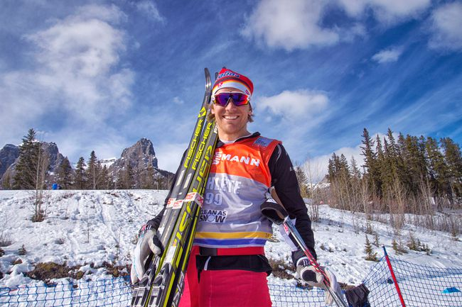Devon Kershaw, on the Canadian Senior World Cup Team, is ready to rock at training day at Ski Tour Canada at the Canmore Nordic Centre. Pam Doyle @ pamdoylephotography.com