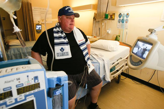 Mayor Rob Ford starts his second round of chemotherapy as he waits for the Leafs to beat the Habs on Oct. 8, 2014. (Stan Behal/Toronto Sun/Postmedia Network)