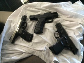 These guns were seized by police as part of Project Kirby. (Handout)