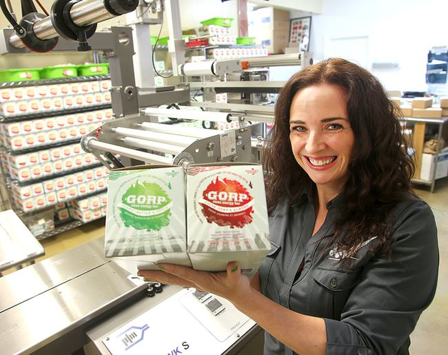 Colleen Dyck, founder of GORP Clean Energy Bars, displays some of her product at her plant in Niverville, Man. Thursday March 10, 2016. Dyck was named 2016 Canadian Mompreneur of the year last weekend in Toronto.