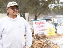 Gino Donato/Sudbury Star/Postmedia Network <p>Clyde McNichol at a tent that is a symbol of a protest against logging, building and spraying in the Benny forest.