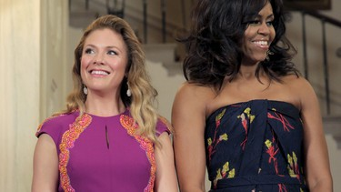 Sophie Gregoire-Trudeau made a style splash in Washington wearing Canadian designer Lucian Matis. The Prime Minister's wife attended a welcoming ceremony at the White House in a red, graphic dress and at night donned a purple floor-length gown with orange embroidery for the State Dinner.
