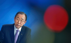 U.N. Secretary General Ban Ki-moon addresses a news conference following talks with German Chancellor Angela Merkel at the Chancellery in Berlin, Germany, March 8, 2016. (REUTERS/Fabrizio Bensch)