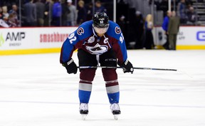 Colorado Avalanche left wing Gabriel Landeskog reacts to the lose to the Vancouver Canucks at the Pepsi Center. (Ron Chenoy/USA TODAY Sports)
