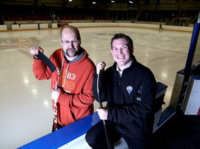 Former Kingston Frontenacs Mark Major, left, and Jason Sands at their former hockey home, the Kingston Memorial Centre. (Ian MacAlpine/The Whig-Standard)