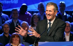 Leader Brian Pallister delivers his address during the provincial Progressive Conservative party's election launch at the Caboto Centre on Wilkes Avenue in Winnipeg on Sat., March 12, 2016. (Kevin King/Winnipeg Sun/Postmedia Network)