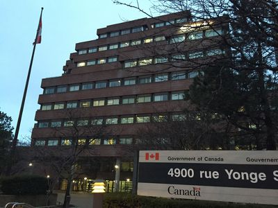 Joseph Shepard Building at 4900 Yonge St. in Toronto after a man with a knife injured two Canadian Forces members Monday, March 14, 2016. (Maryam Shah/Toronto Sun)