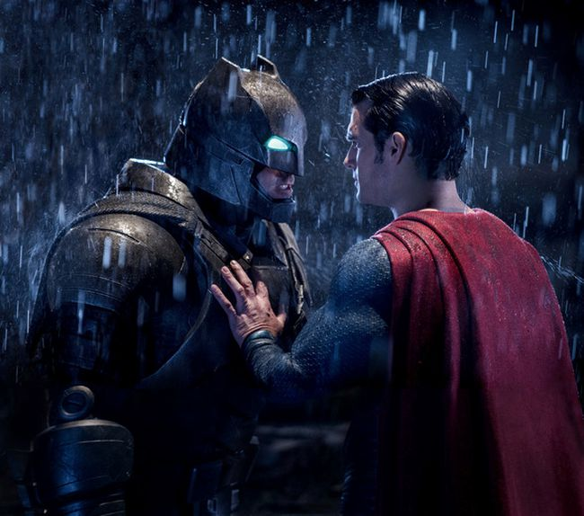 """Ben Affleck's Batman and Henry Cavill's Superman square off in a scene from """"Batman v Superman: Dawn of Justice"""". (Warner Bros.)"""