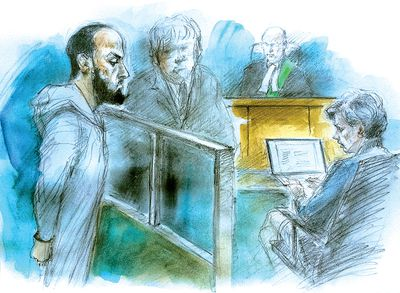 Ayanle Hassan Ali, handcuffed, appears in 1000 Finch court March 15, 2016. (Sketch by Pam Davies)
