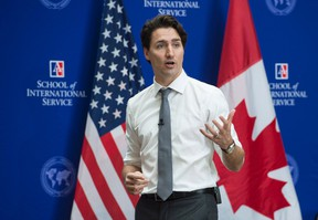 Prime Minister Justin Trudeau addresses students at American University, Friday, March 11, 2016 in Washington. THE CANADIAN PRESS/Paul Chiasson