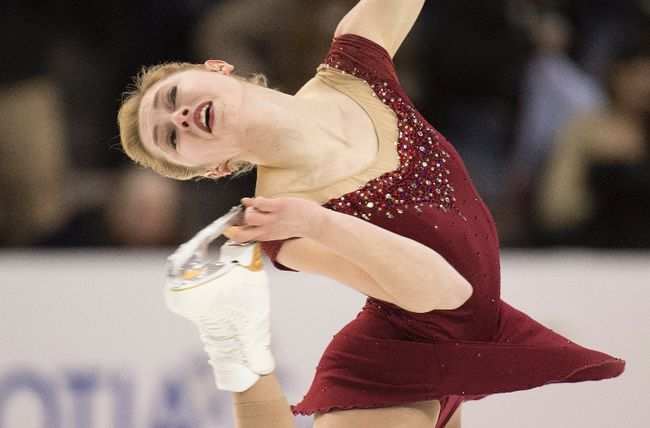 Alaine Chartrand performs her free program during the Canadian Figure Skating Championships in Halifax on Saturday, January 23, 2016. THE CANADIAN PRESS/Darren Calabrese