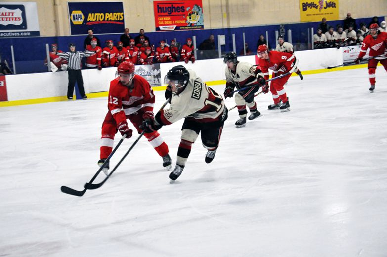 Even with a comeback in the third period to the tie the game, the Fort Sask. Hawk ended their season falling 6-4 to the Red Wings in Game 5 on March 11. (Omar Mosleh/Record Staff)