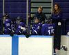 Woodstock's Kelly Paton, third from the right, talks to a player coming off the ice during a Western University Mustangs game. After a successful career as a player in women's hockey, she's in her first-year an associate coach for Western University's women's hockey team this season. Greg Colgan/Woodstock Sentinel-Review/Postmedia Network