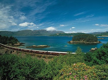 Scotland: The Royal Scotsman train rolls through Scotland's most scenic landscapes, including peaks, calm lochs, wild countryside and natural coasts. The journey through Scotland's highlands can take two to seven nights. (Courtesy Orient Express)