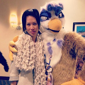 Debra Soh,a sexual addiction researcher with the faculty of health at York University, poses with a furry. Handout/Postmedia Network