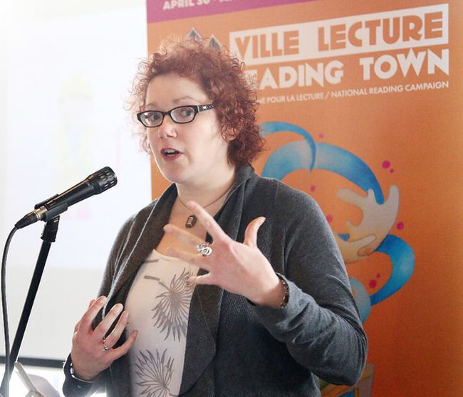 <p>Sudbury's newly minted Poet Laureate Kim Fahner recites a poem in Sudbury, Ont. on Monday March 21, 2016. The new poet laureate was unveiled at the launch of Reading Town Sudbury Ville Lecture 2016 on Monday. Gino Donato/Sudbury Star/Postmedia Network