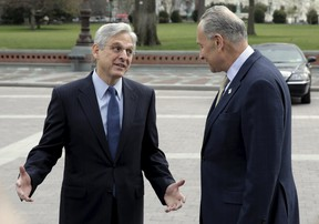 Senator Charles Schumer (D-NY) meets with Judge Merrick Garland, President Obama's Supreme Court nominee, on Capitol Hill in Washington March 22, 2016.  (REUTERS/Joshua Roberts)